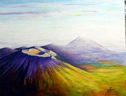 l`atelier du pouzadoux auvergne tableau toile acrylique Chaine-des-Puys volcans auvergne puy de dome