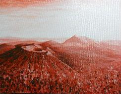Manuel Moreso l`atelier du pouzadoux auvergne issoire perrier tableau toile acrylique Chaine-des-Puys volcans auvergne puy de dome