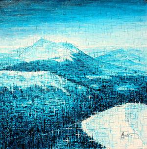 Manuel Moreso artiste peintre l`atelier du pouzadoux auvergne issoire perrier peinture tableau toile acrylique paysage auvergne volcans chaine des puys puy de dome souvenir vue paysage
