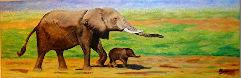 Manuel Moreso l`atelier du pouzadoux auvergne issoire perrier peinture toile tableau acrylique elephants afrique