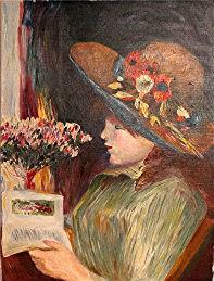 Manuel Moreso l`atelier du pouzadoux auvergne auvergne issoire perrier peinture tableau figuratif huile fille lisant renoir lecture livre