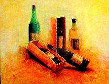 l`atelier du pouzadoux auvergne peinture tableau toile acrylique bouteille nature morte