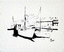 peinture toile tableau port bateau mer acrylique
