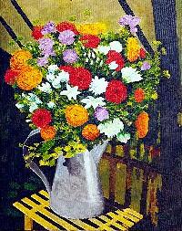peinture tableau toile acrylique figuratif fleurs bouquet
