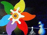 tableau-peinture-artistique-acrylique-fleur-et-silhouette toile