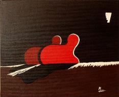 tableau-peinture-artistique-acrylique-silhouettes toile